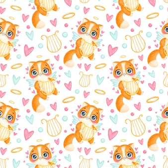 Valentine's day animals seamless pattern. cute cartoon cat cupid seamless pattern.