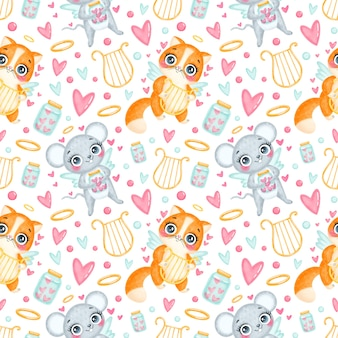 Valentine's day animals seamless pattern. cute cartoon cat and mouse cupids seamless pattern.
