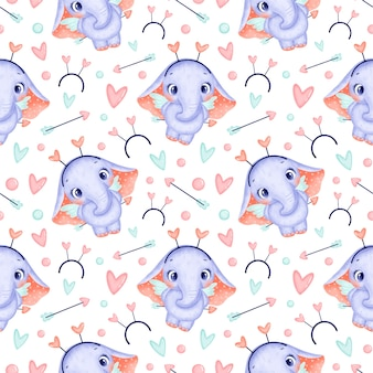 Valentine's day animals seamless pattern. cute cartoon elephant cupid seamless pattern.