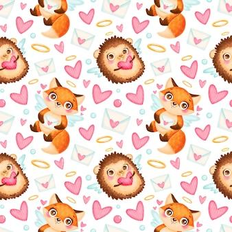 バレンタインデーの動物のシームレスなパターン。かわいい漫画のキツネとハリネズミのキューピッドのシームレスなパターン。