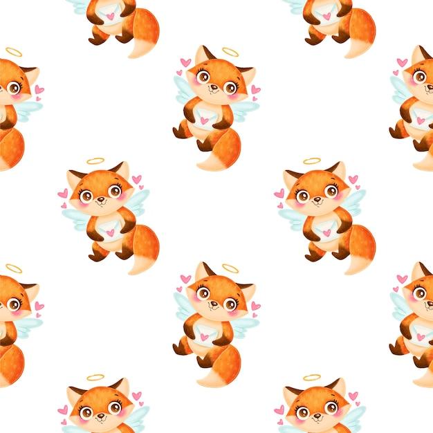 バレンタインデーの動物のシームレスなパターン。かわいい漫画キツネキューピッドシームレスパターン。
