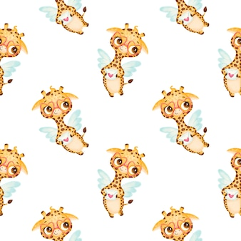 Valentine's day animals seamless pattern. cute cartoon giraffe cupid seamless pattern.