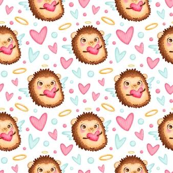 バレンタインデーの動物のシームレスなパターン。かわいい漫画ハリネズミキューピッドシームレスパターン。