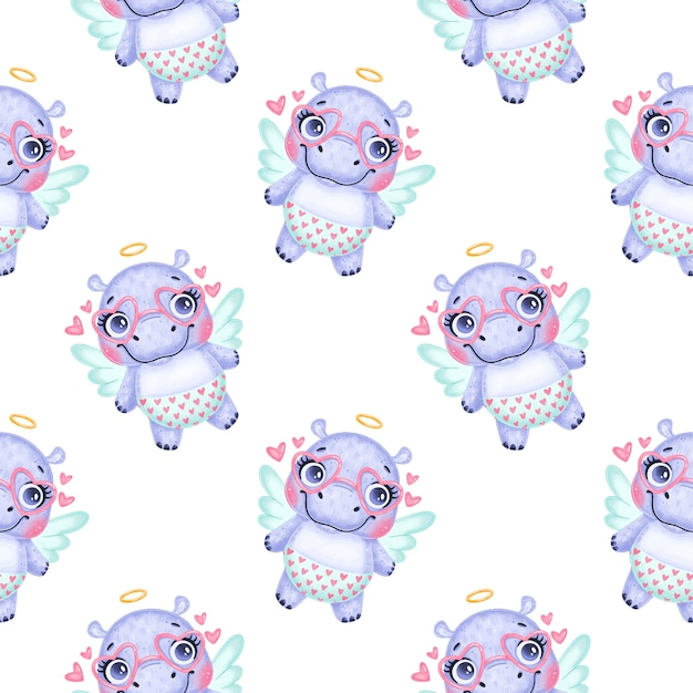 バレンタインデーの動物のシームレスなパターン。かわいい漫画カバキューピッドシームレスパターン。