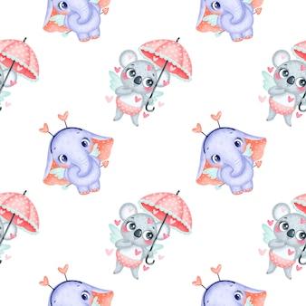 バレンタインデーの動物のシームレスなパターン。かわいい漫画コアラと象のキューピッドのシームレスなパターン。