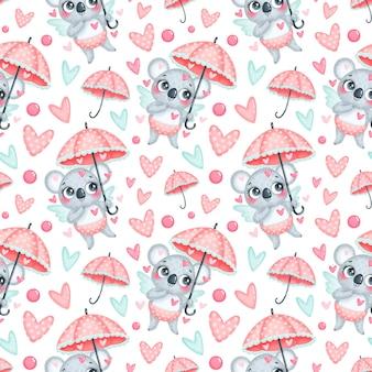 バレンタインデーの動物のシームレスなパターン。かわいい漫画コアラキューピッドシームレスパターン。