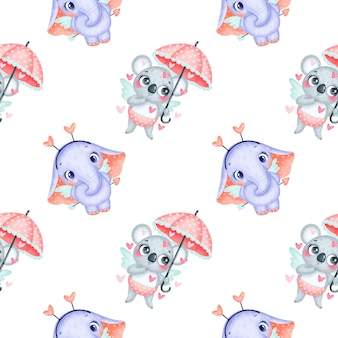 Valentine's day animals seamless pattern. cute cartoon koala and elephant cupids seamless pattern.