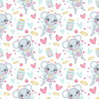 バレンタインデーの動物のシームレスなパターン。かわいい漫画のマウスのキューピッドのシームレスなパターン。