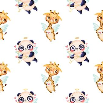 バレンタインデーの動物のシームレスなパターン。かわいい漫画のパンダとキリンのキューピッドのシームレスなパターン。