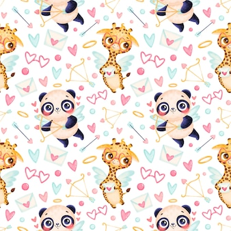 Valentine's day animals seamless pattern. cute cartoon panda and giraffe cupids seamless pattern.