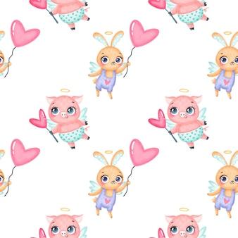 バレンタインデーの動物のシームレスなパターン。かわいい漫画の豚とウサギのキューピッドのシームレスなパターン。