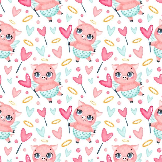 バレンタインデーの動物のシームレスなパターン。かわいい漫画豚キューピッドシームレスパターン。