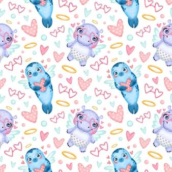 バレンタインデーの動物のシームレスなパターン。かわいい漫画のアザラシとカバのキューピッドのシームレスなパターン。