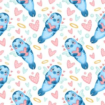 バレンタインデーの動物のシームレスなパターン。かわいい漫画のアザラシキューピッドシームレスパターン。