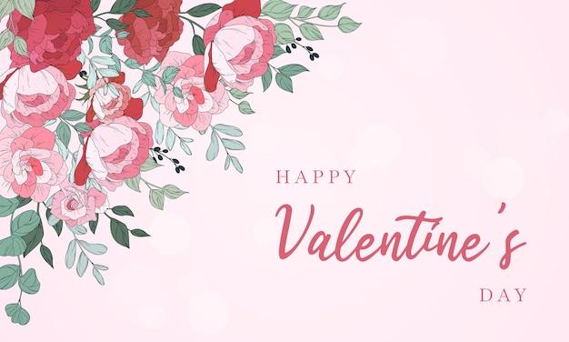 美しい花柄のバレンタインデーの背景デザイン
