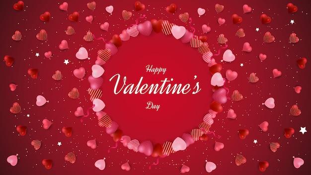 День святого валентина дизайн фона с круговыми формами любви