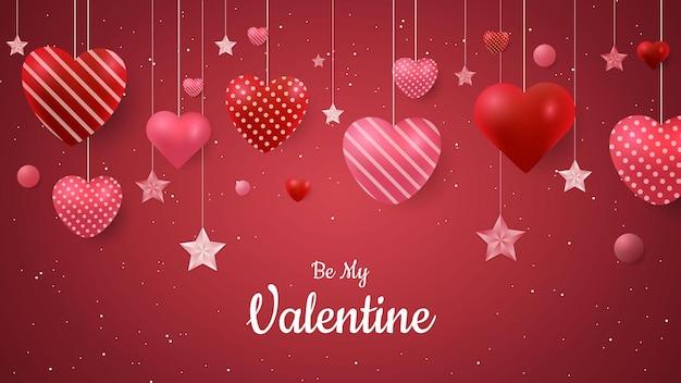 사랑과 별 모양 발렌타인 배경 디자인