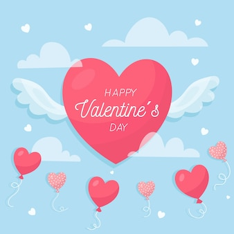 Valentine's day background in flat design