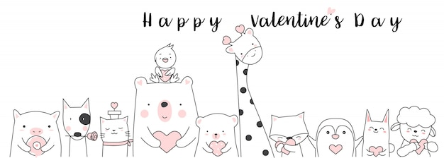 Valentine's day background  hand drawn style