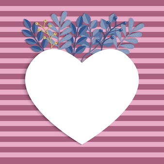 Valentine s day background. heart frame with leaves Premium Vector