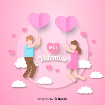 Valentine's day background in paper style