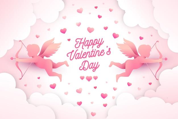 紙のスタイルでバレンタインデーの背景