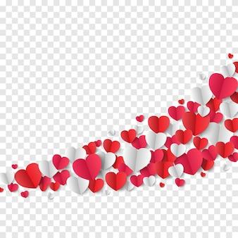 バレンタインデーの背景、透明な背景に紙のハート、ベクトル図