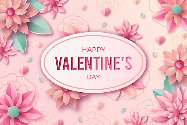 Valentine's day background in paper style with flower and leaves.
