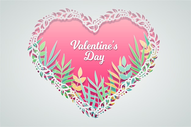Valentine's day background in paper style with leaves