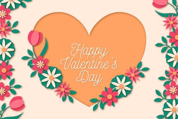 Sfondo di san valentino in stile carta