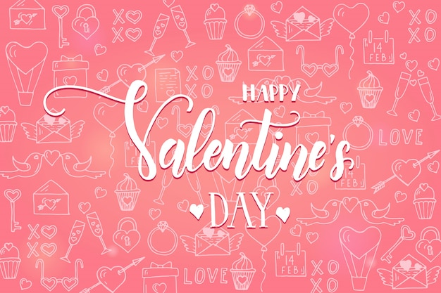 Valentine's day background on pink pattern with hand drawn love line art symbols.