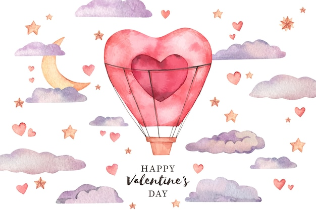 Valentine's day background in watercolor