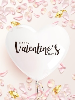 Valentine's day background. white heart shaped balloon with pink rose petals, golden leaves.