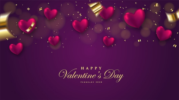 Valentine's day background with 3d balloon shaped love illustration on a dark background.