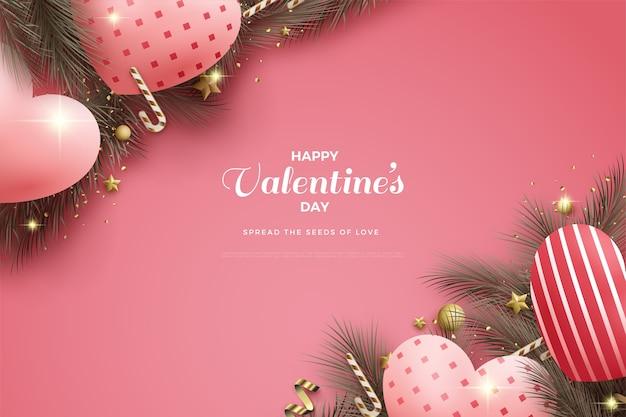 День святого валентина фон с 3d воздушными шарами на красном фоне.