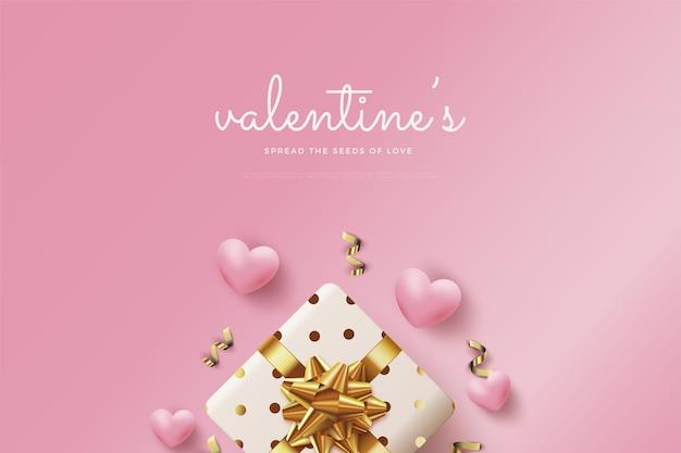 Предпосылка дня святого валентина с подарочными коробками 3d и воздушными шарами влюбленности.