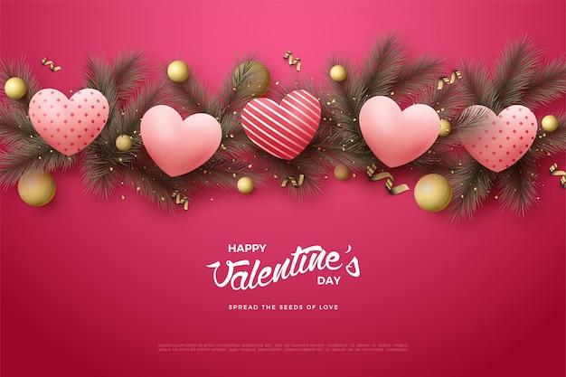 Предпосылка дня валентинки с воздушными шарами влюбленности 3d на листьях сосны.