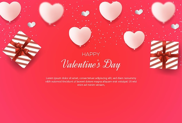 Valentine's day background with 3d love balloons and gift box