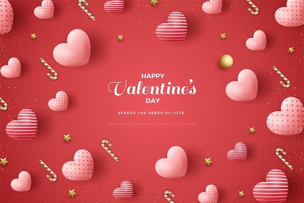 День святого валентина фон с 3d любовными воздушными шарами.