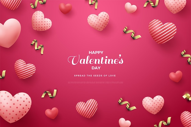 День святого валентина фон с 3d воздушными шарами любви.