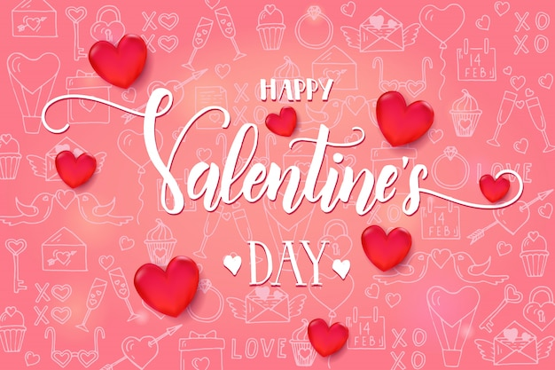 Valentine's day background with 3d red heart and frame on pink pattern