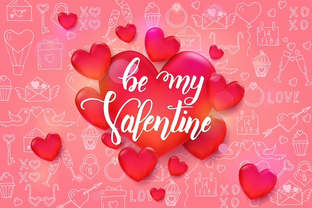 Valentine's day background with 3d red hearts on pattern with hand drawn love line art symbols.