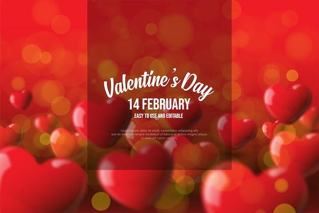 Valentine's day background with 3d red love balloons.