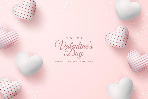 Предпосылка дня святого валентина с воздушными шарами белизны 3d 3d.