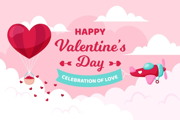 Valentine's day background with airplane and balloon