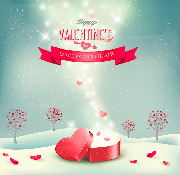 開いた赤いギフトボックスとバレンタインデーの背景。