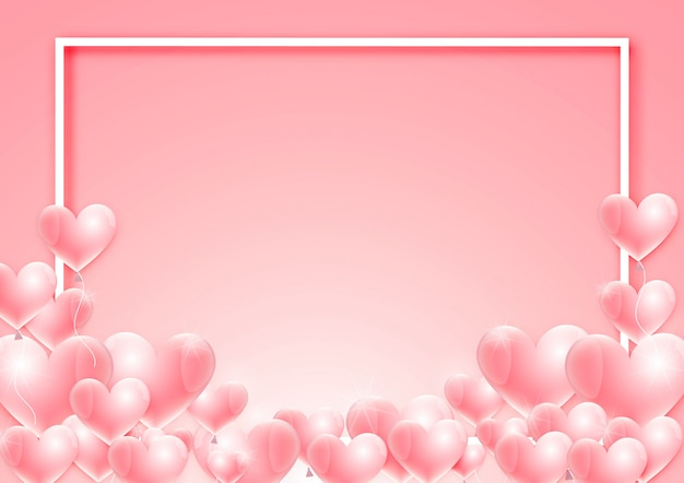 Valentine's day background with balloon vector