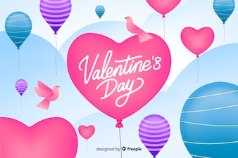 Valentine's day background with balloons and birds