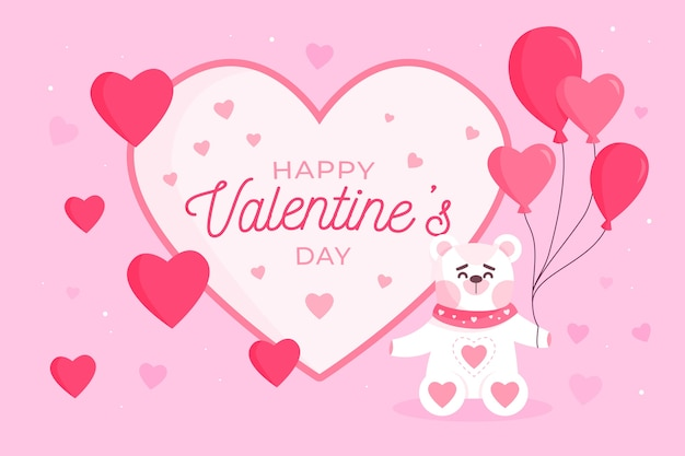 Valentine's day background with bear holding balloons