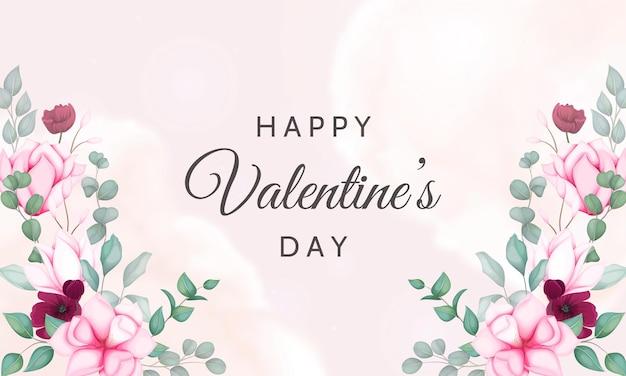 아름 다운 꽃으로 발렌타인 배경